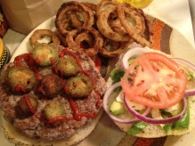 fried jalapeño burger, ring of fire burger, queens comfort, bleu cheese, avocado, buttermilk battered onion rings, baked onion rings
