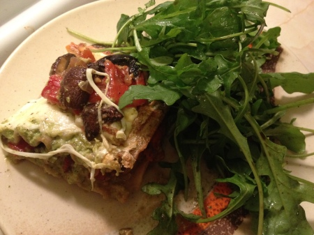 roasted vegetable lasagna, arugula salad, creamy pesto, vegetarian, pesto lasagna