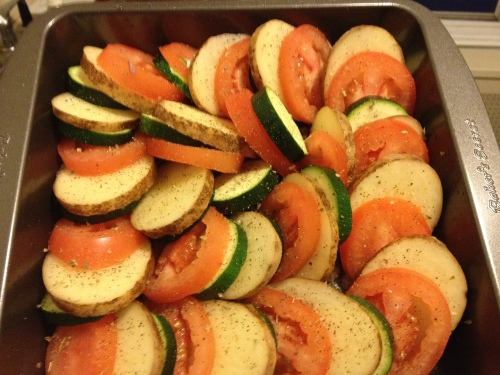 Vegetable Tian, Veggie recipes, vegetarian recipes, tomatoes, zucchini, potato